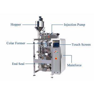 Вертикална форма пълнене печат машина с Pistion пълнител за течност